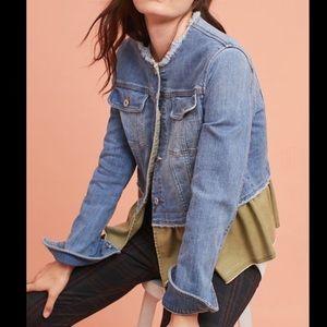 Jean jacket with ruffle hem